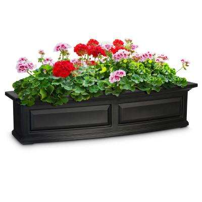 Self-Watering 4 ft. Nantucket Black Plastic Window Box