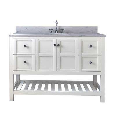 Palmdale 49 in. W x 34 in. H Bath Vanity in White with Marble Vanity Top in White with White Basin