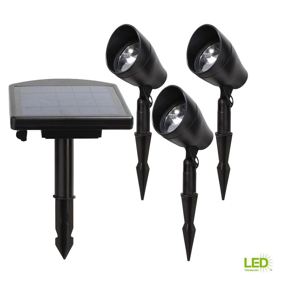 Solar Black Outdoor Integrated LED 3000K Warm White Landscape Spot Light