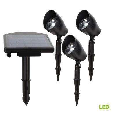 Solar Black Outdoor Integrated LED 3000K Warm White Landscape Spot Light Kit with Remote Solar Panel (3-Pack)