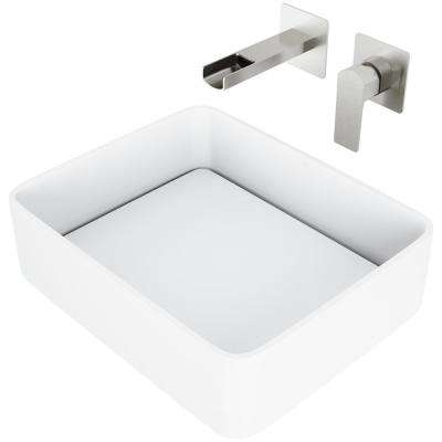 Jasmine Matte Stone Vessel Bathroom Sink Set with Atticus Wall Mount Faucet in Brushed Nickel