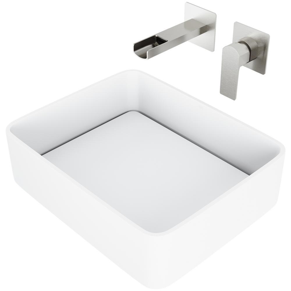 Jasmine Matte Stone Vessel Bathroom Sink Set with Atticus Wall Mount Faucet in Brushed Nickel