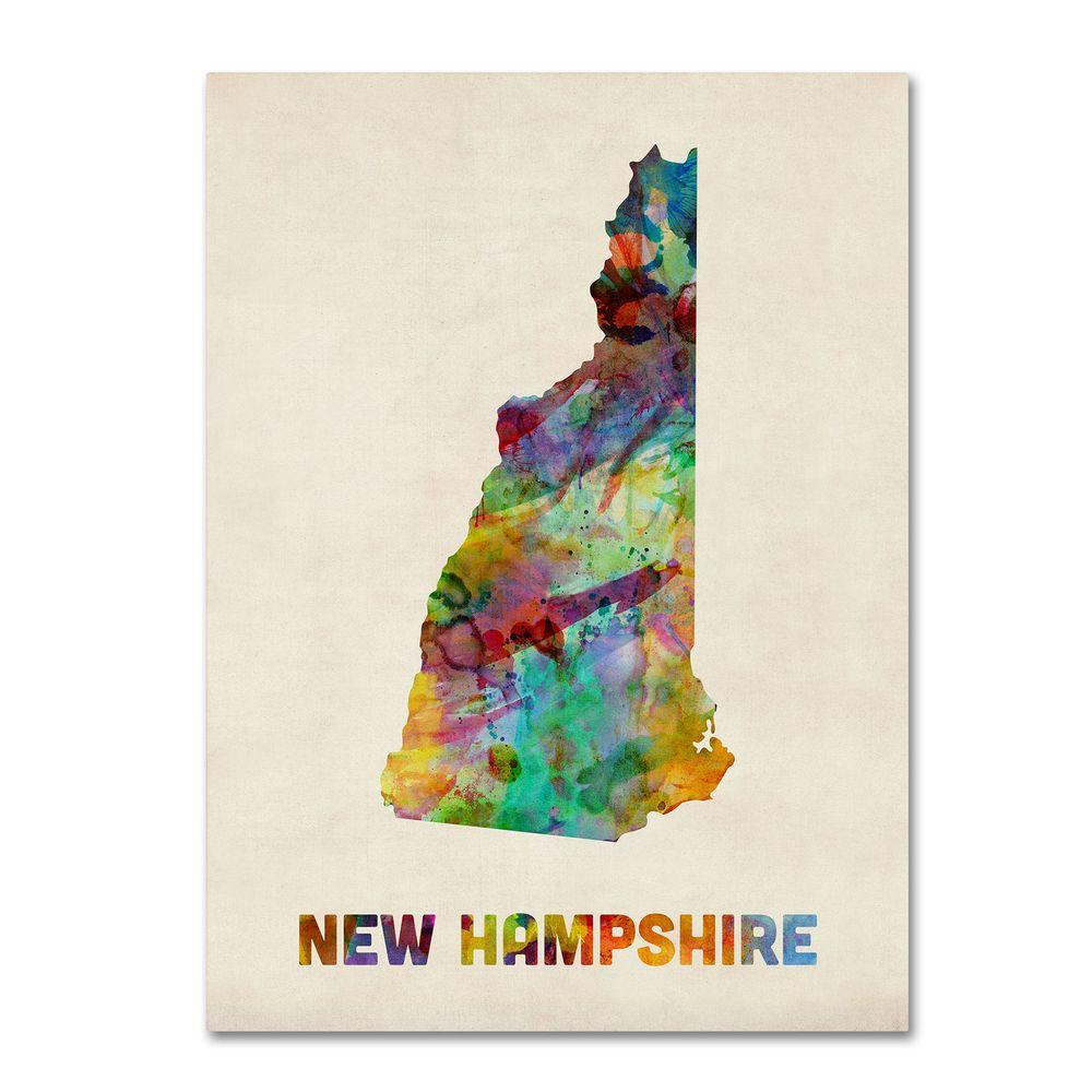 18 in. x 24 in. New Hampshire Map Canvas Art