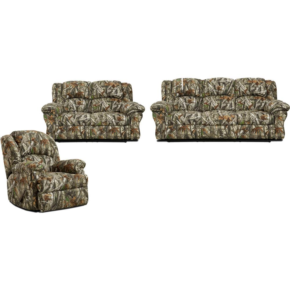 Cambridge 3 Piece Camo Sofa, Loveseat, Recliner Living Set