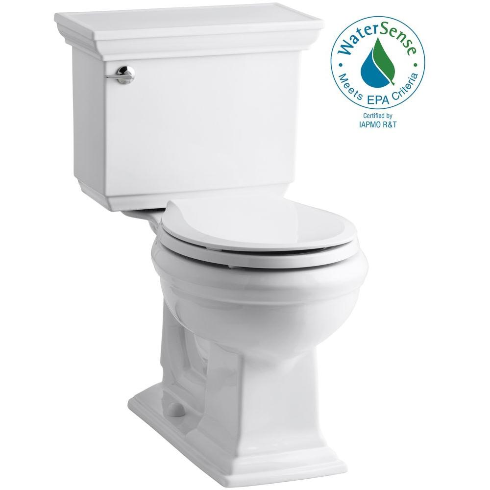 Kohler Memoirs Stately 2 Piece 1 28 Gpf Single Flush Round Toilet With Aquapiston Flushing Technology