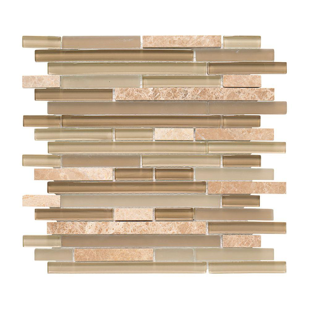 Jeffrey Court Country Winds Pencil 12 in. x 12 in. x 8 mm Glass Marble Mosaic Wall Tile