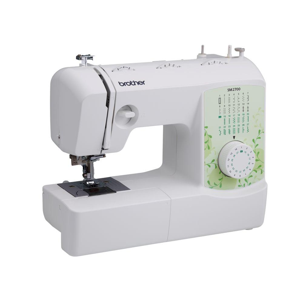 Brother 27-Stitch Sewing Machine, White With Green Print