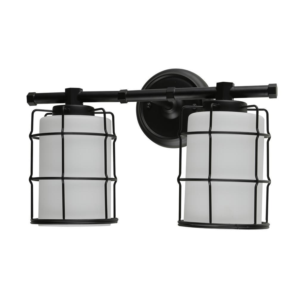 Black Bathroom Light: BELDI Albany 2-Light Black Bath Light-25316-W2