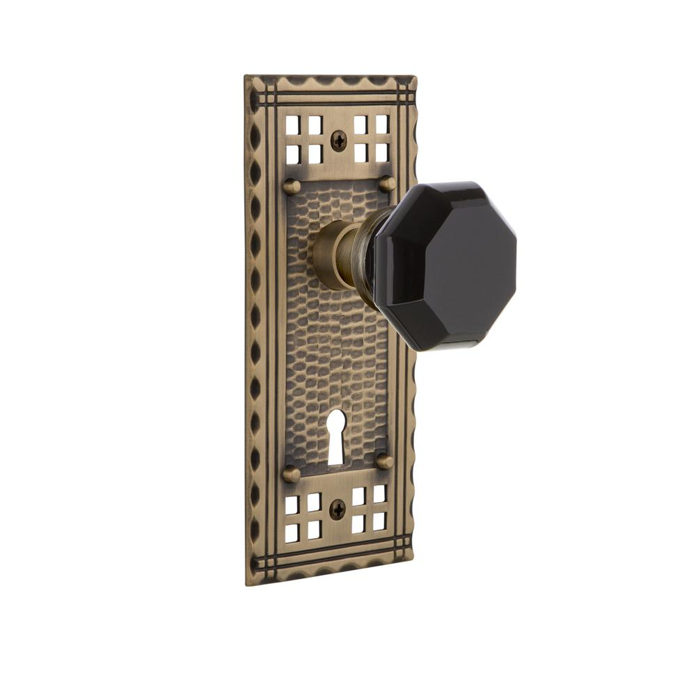 Nostalgic Warehouse Craftsman Plate with Keyhole Double Dummy Waldorf Black Door Knob in Antique Brass-723707 - The Home Depot  sc 1 st  Home Depot : keyhole door handles - pezcame.com