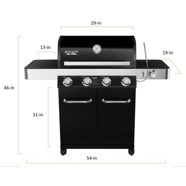 Monument Grills 4 Burner Propane Gas Grill In Black With Led Controls Side Burner And Usb Light 13892 The Home Depot