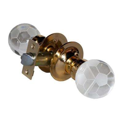 Soccer Ball Crystal Brass Passive Door Knob with LED Mixing Lighting Touch Activated