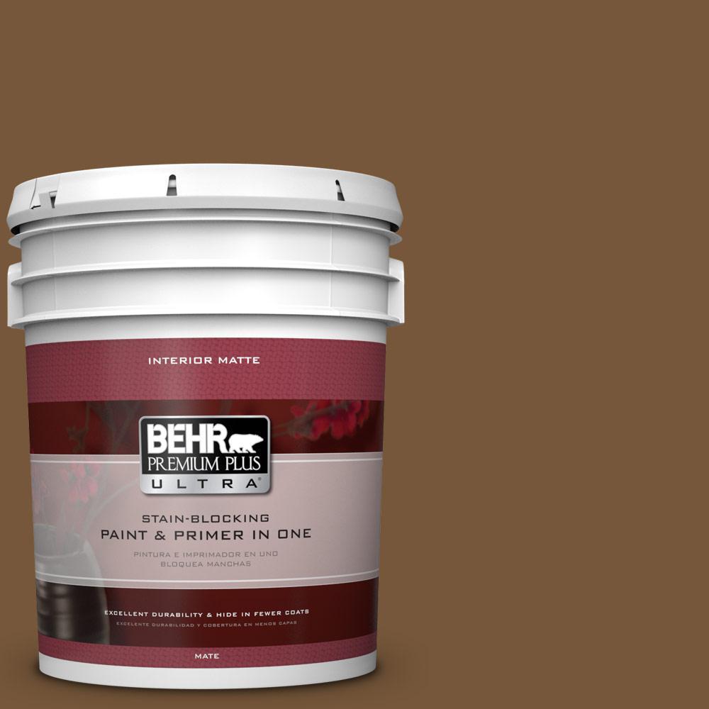 BEHR Premium Plus Ultra 5 gal. #290F-7 Wooden Cabin Flat/Matte Interior Paint
