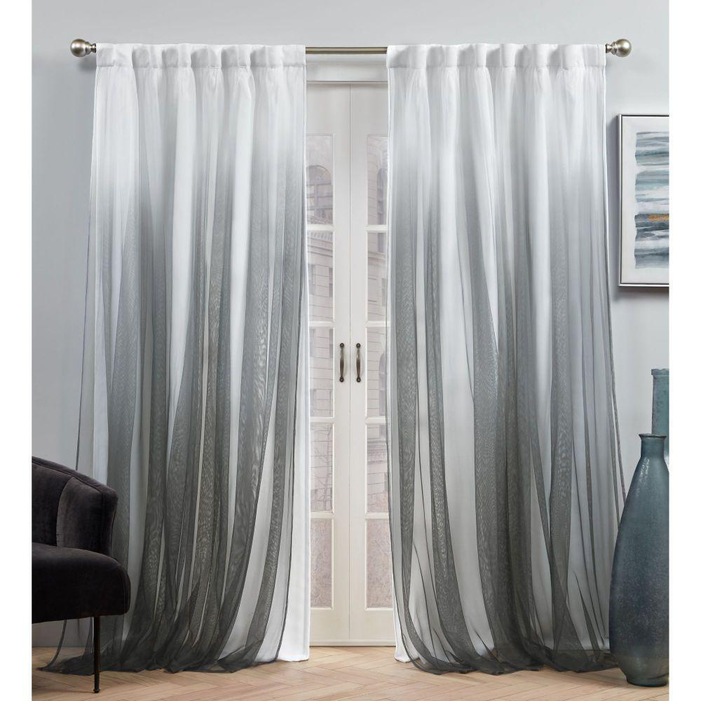 Crescendo Black Blackout Hidden Tab Top Curtain Panel 54 in. W x 84 in. L (2 Panels)