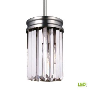 Carondelet 1-Light Antique Brushed Nickel Mini Pendant with LED Bulb