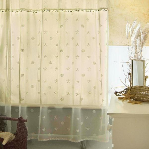 Heritage Lace Sand Shell In Ecru Shower Curtain 7175e