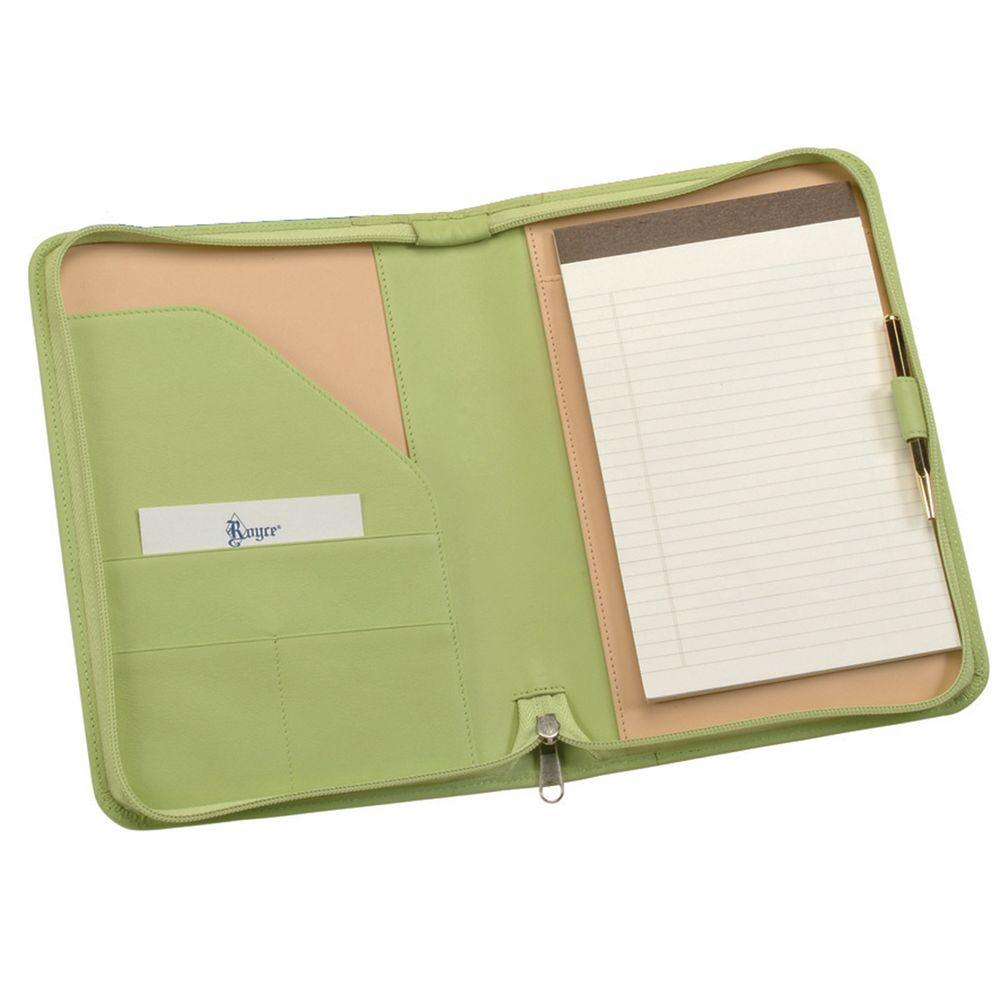 Genuine Leather Zippered Compact Writing Portfolio Organizer, Key Lime Green