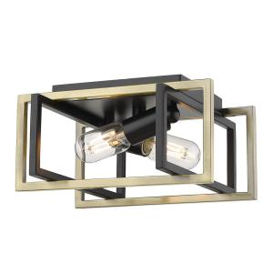 Tribeca 11.5 in. 2-Light Black with Aged Brass Accents Flush Mount