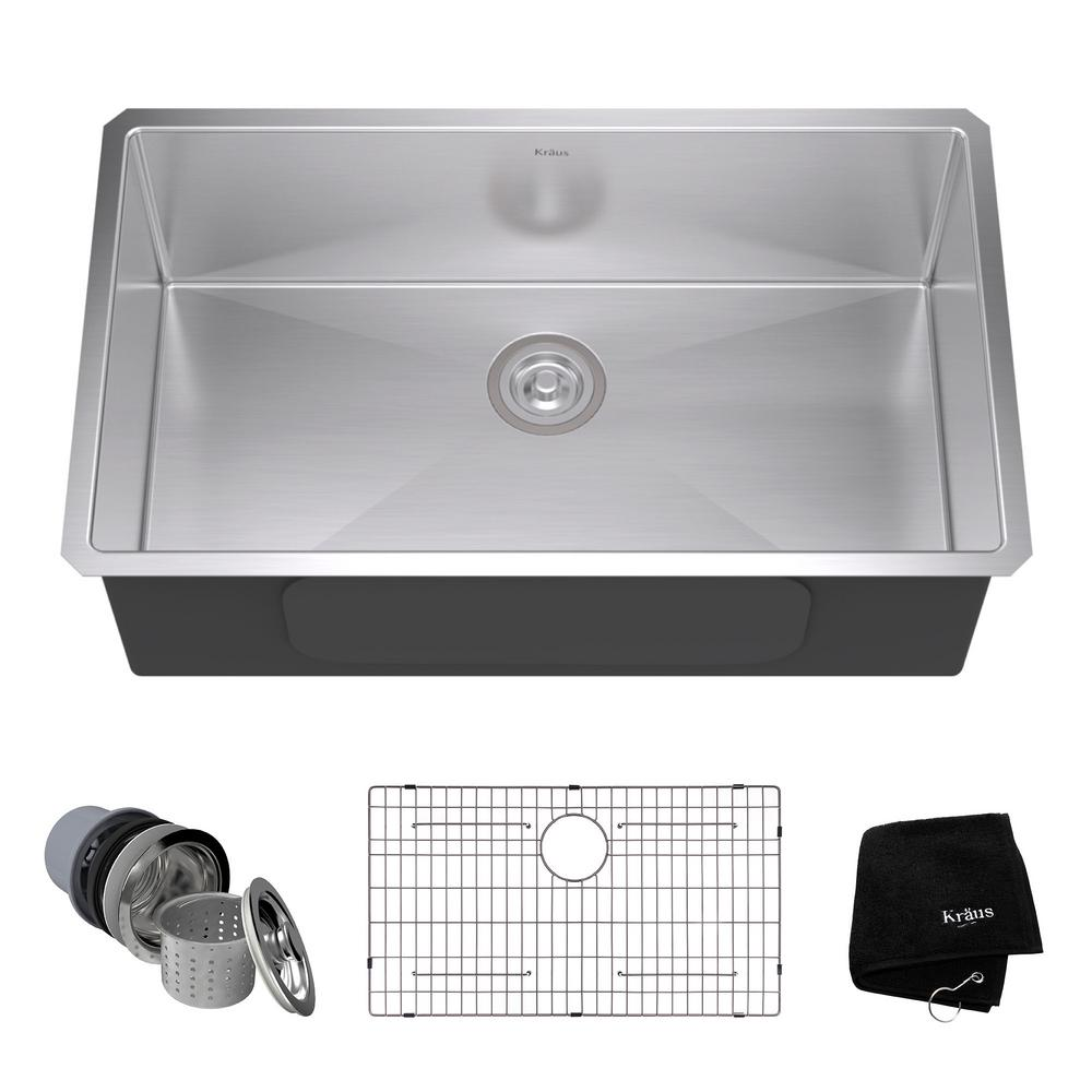 Undermount Stainless Steel 32 In. Single Bowl Kitchen Sink Kit