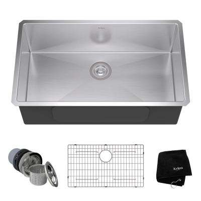 Undermount Stainless Steel 32 in. Single Basin Kitchen Sink Kit