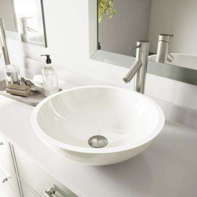Glass Vessel Sink in Flat Edged White Phoenix Stone and Dior Faucet Set in Brushed Nickel