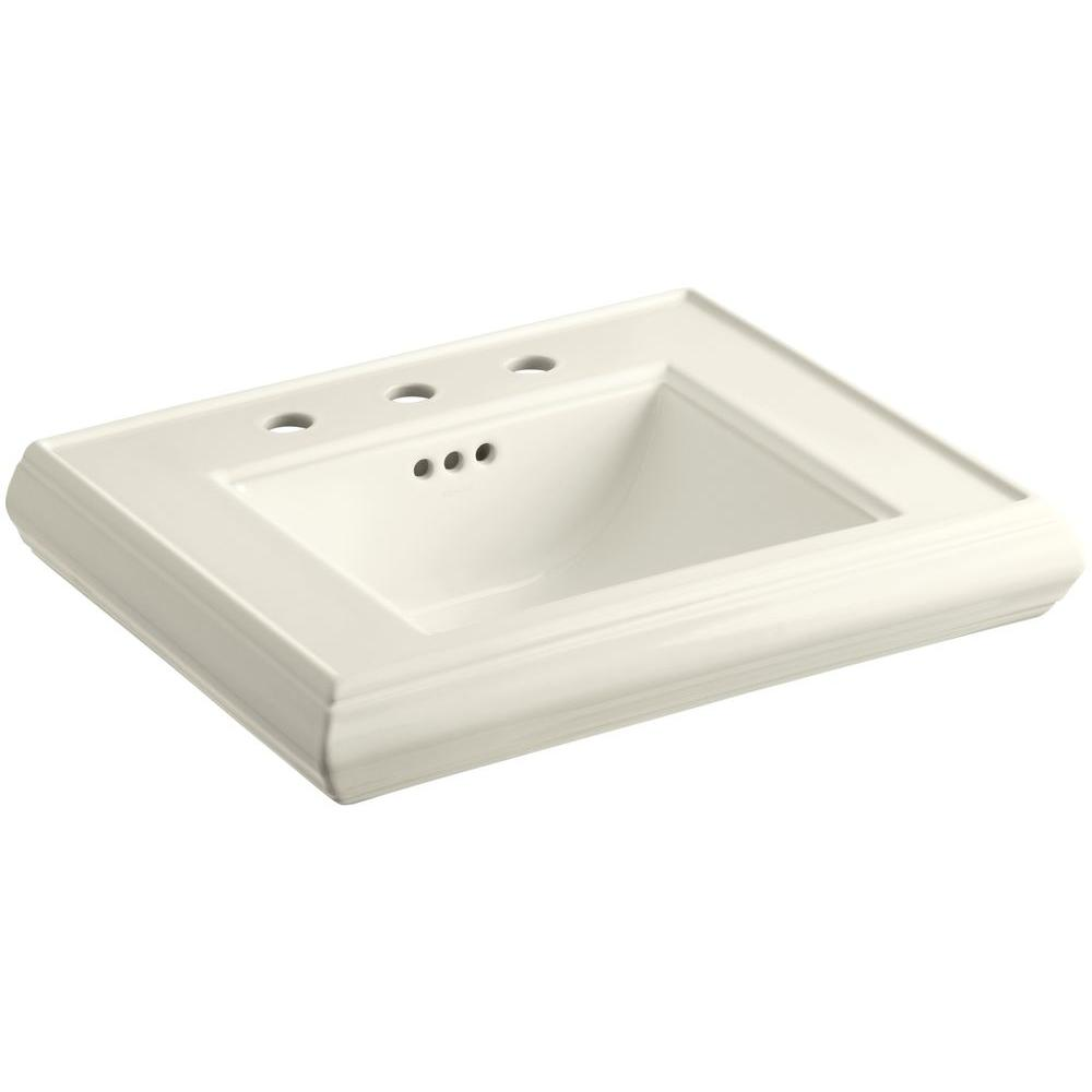 Memoirs 24 in. Ceramic Pedestal Sink Basin in Biscuit with Overflow