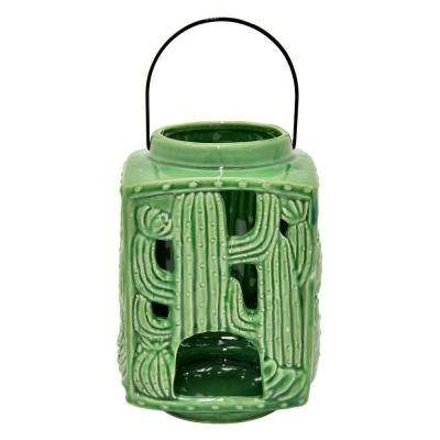 7.75 in. Green Ceramic Hurricane Candle Holder