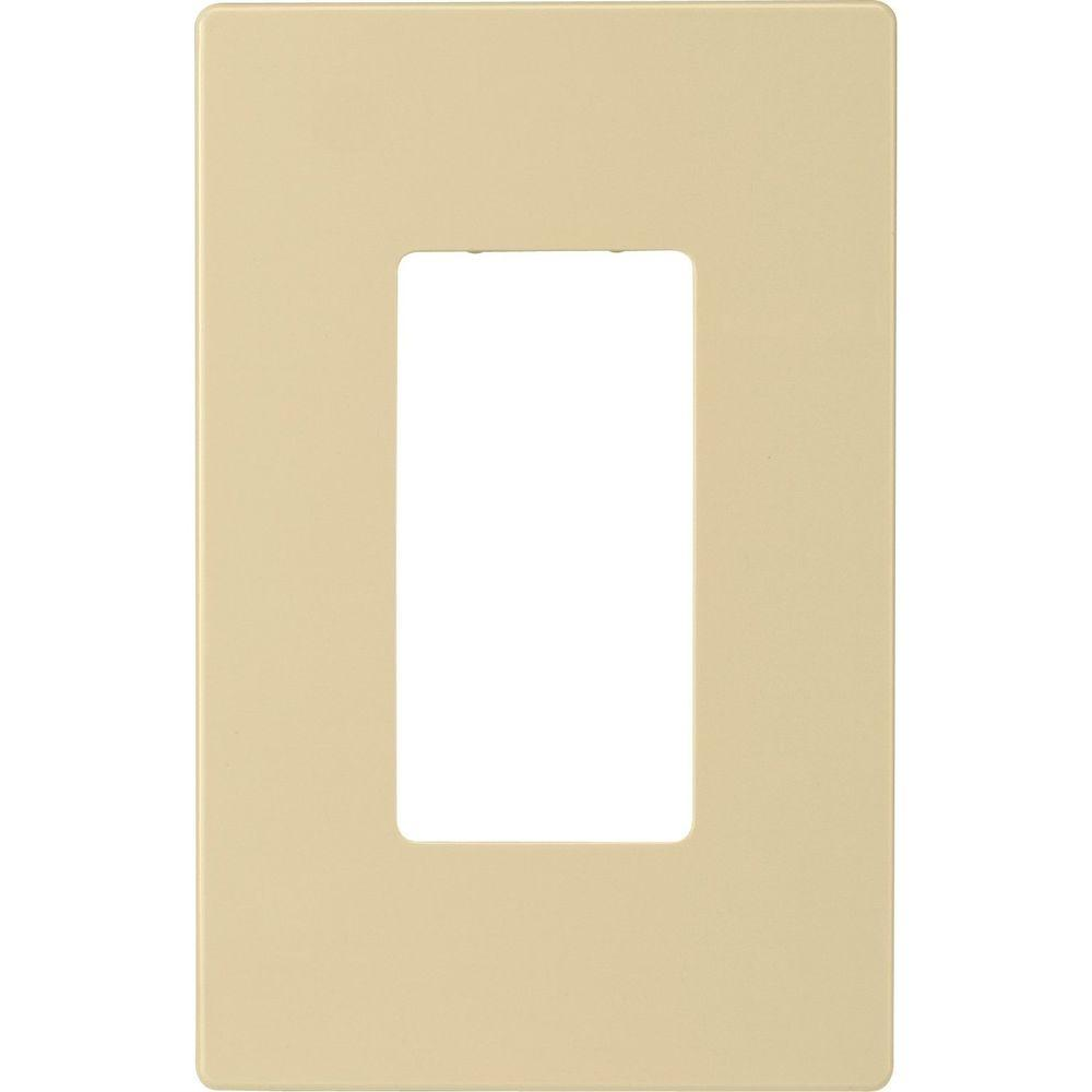 Eaton 1-Gang Screwless Decorator Polycarbonate Wall Plate, Ivory