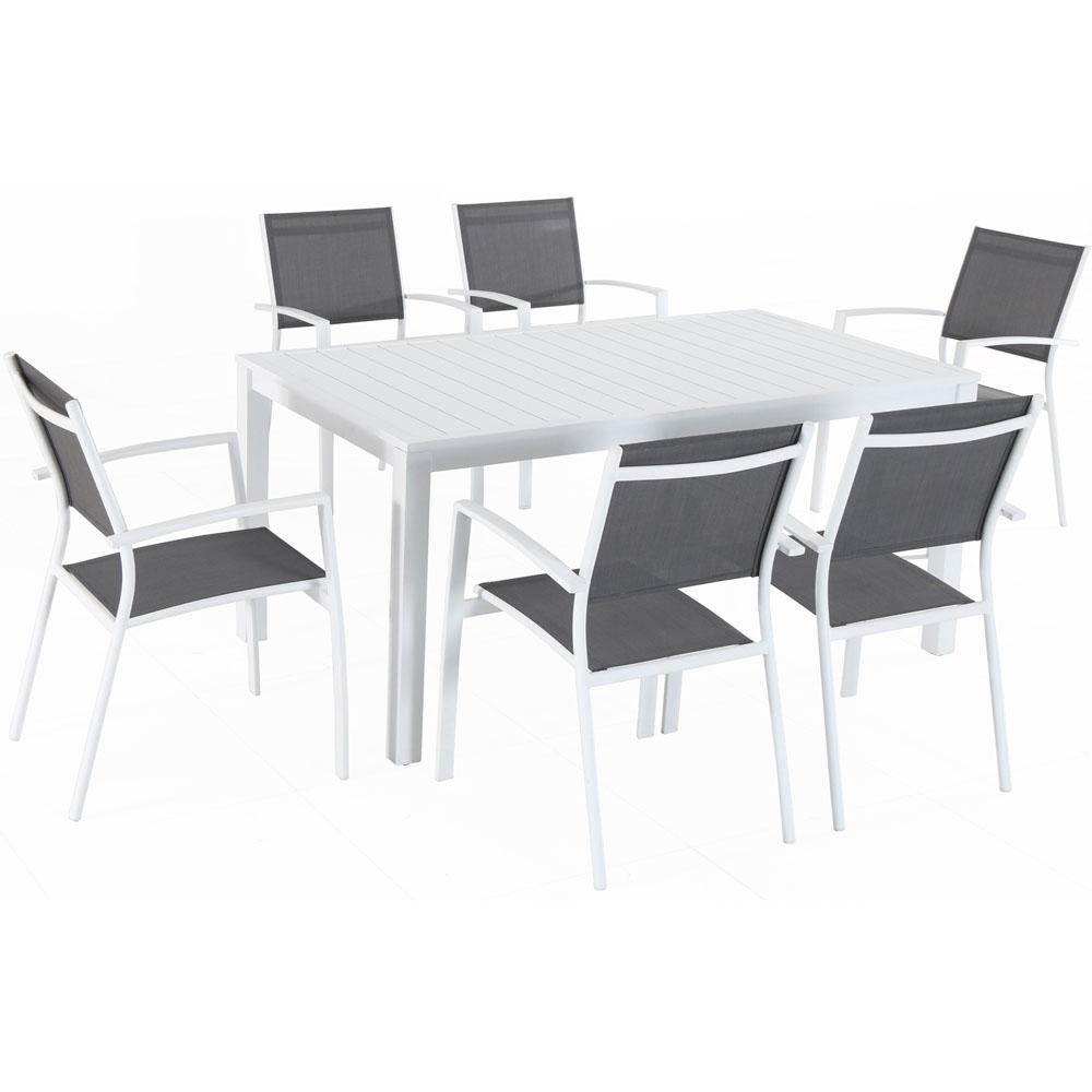 Hanover Del Mar 7 Piece Aluminum Outdoor Dining Set With 6 Sling