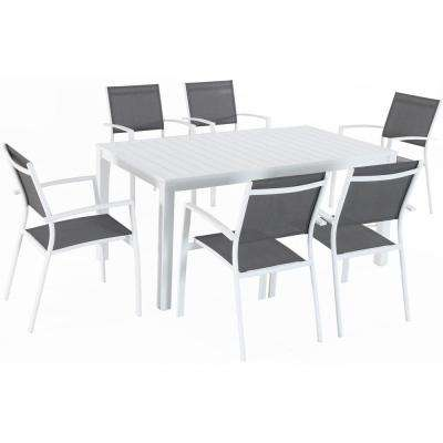 Del Mar 7-Piece Aluminum Outdoor Dining Set with 6 Sling Chairs in Gray/White and a 78 in. x 40 in. Dining Table
