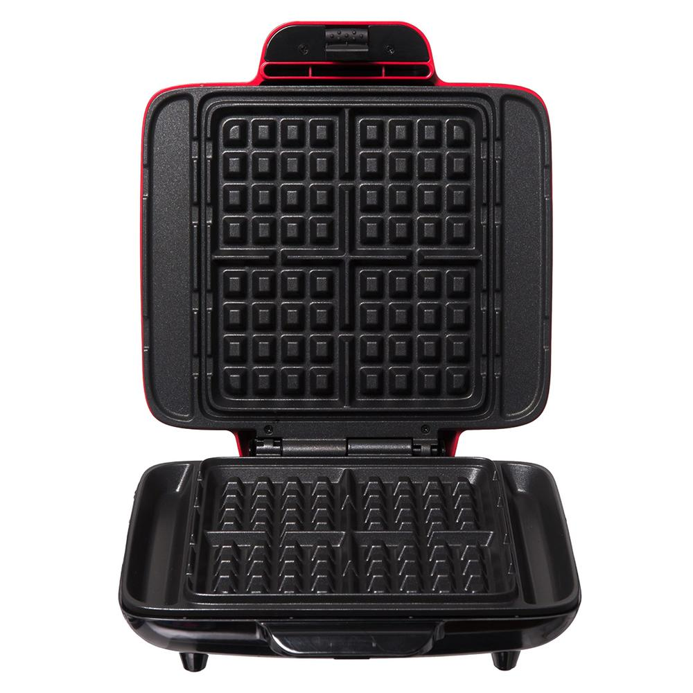 Dash No Mess Waffle Maker in Red Prepare up to 4 warm, golden waffles at a time without the sticky surfaces and dripping edges. The Dash No Mess Waffle Maker heats evenly, making 4 perfectly cooked square waffles every time. PFOA-free nonstick cooking surfaces make the No Mess Waffle Maker easy to clean, while the overflow channel prevents batter from spilling out of the sides and onto your countertops. Make savory waffles, hash browns, classic waffles, and dessert waffles with this versatile waffle maker. Color: Red.