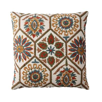 Embroidered Multicolored Suzani 20 in. x 20 in. Decorative Throw Pillow Cover