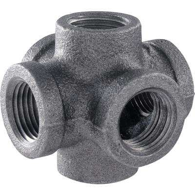 1/2 in. 6-Way Black Iron Cross Double Outlet Industrial Steel Grey