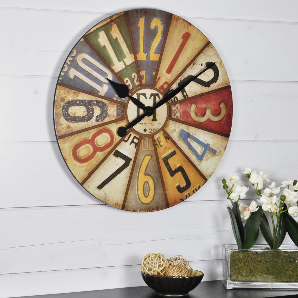 Firstime 155 in round vintage plates wall clock 25640 the home round vintage plates wall clock amipublicfo Gallery