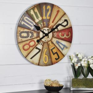 FirsTime 15.5 in. Round Vintage Plates Wall Clock-25640 ...