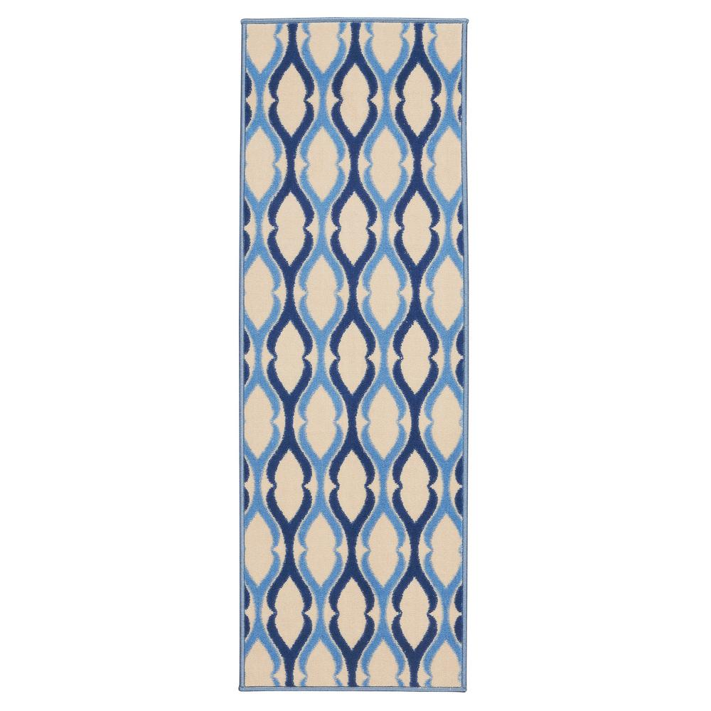 Anne Collection Moroccan Trellis Design Beige and Blue 1 ft x 5 ft