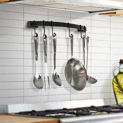 Handcrafted 24 in. Curved Wall Rack Utensil Bar with 6-Hooks Black