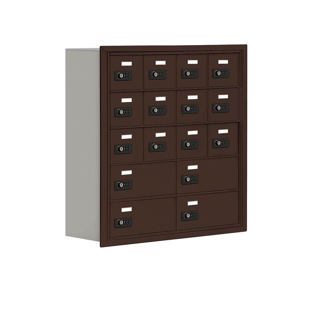 Salsbury Industries 19000 Series 30.5 in. W x 31 in. H x 8.75 in. D 12 A/4 B Doors R-Mount Resettable Locks Cell Phone Locker in Bronze