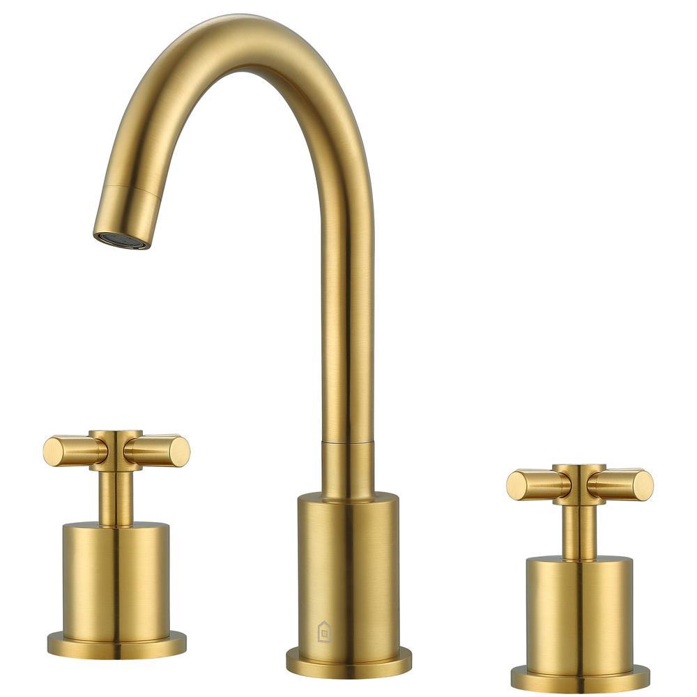 Prima 3 8 in. Widespread 2-Handle Bathroom Faucet in Brushed Titanium Gold