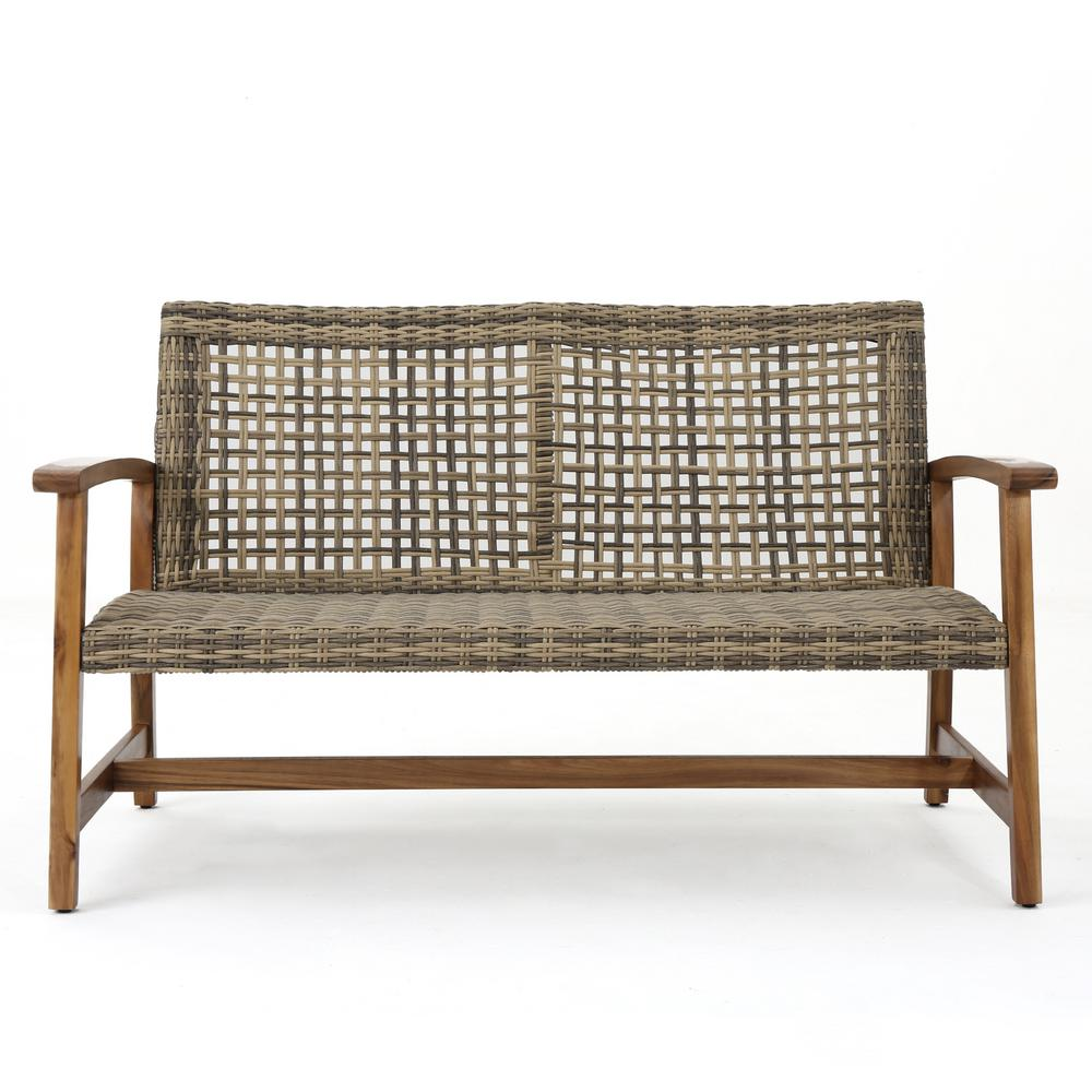 Noble House Hampton Natural Stained Wood and Gray Wicker Outdoor Loveseat
