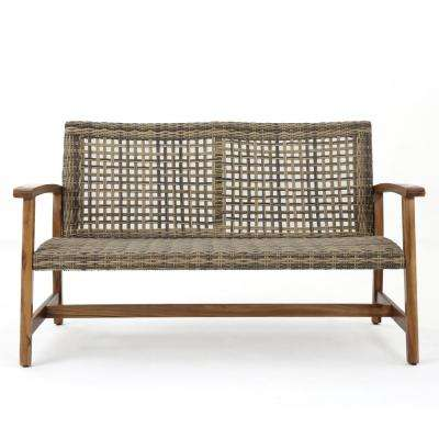 Hampton Natural Stained Wood and Gray Wicker Outdoor Loveseat