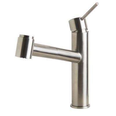 Single-Handle Pull-Out Sprayer Kitchen Faucet in Brushed Stainless Steel