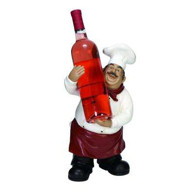 14 in. x 8 in. Chef Wine Bottle Holder in Colored Polystone