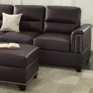 Naples Espresso Leatherette Sectional Sofa with Ottoman