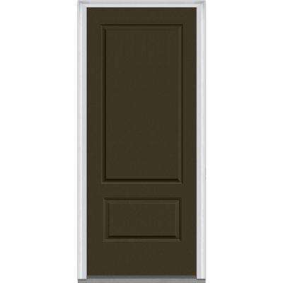 36 in. x 80 in. Right-Hand Inswing 2-Panel Classic Painted Fiberglass Smooth Prehung Front Door