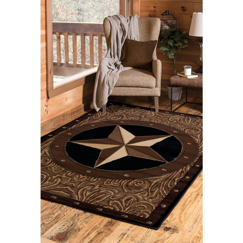 Ranch Star Beige/Black 5 ft. x 7 ft. Area Rug