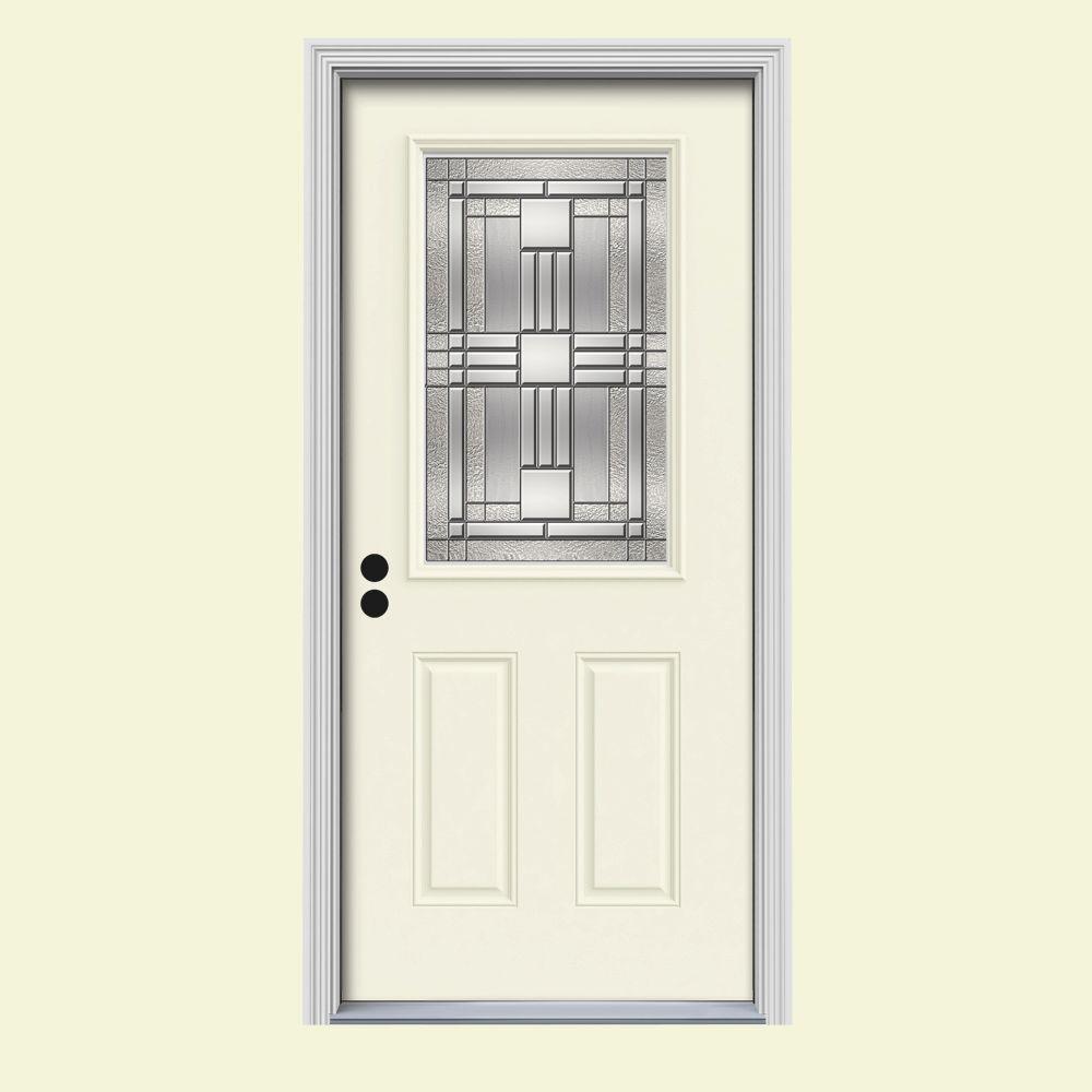 JELD-WEN 36 in. x 80 in. 1/2 Lite Cordova Vanilla Painted Steel Prehung Right-Hand Inswing Front Door w/Brickmould