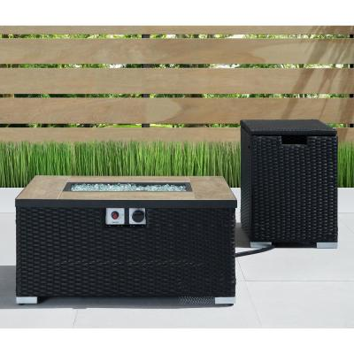 Cheyenne 32 in. x 16 in. Rectangular Wicker Propane Fire Pit Table in Black with Propane Storage and Protective Cover