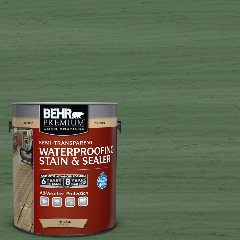 BEHR Premium 1-gal. #ST-126 Woodland Green Semi-Transparent Waterproofing Stain and Sealer