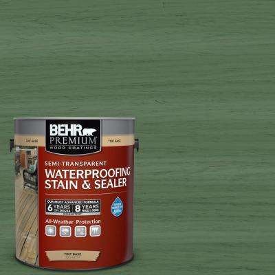1 gal. #ST-126 Woodland Green Semi-Transparent Waterproofing Exterior Wood Stain and Sealer