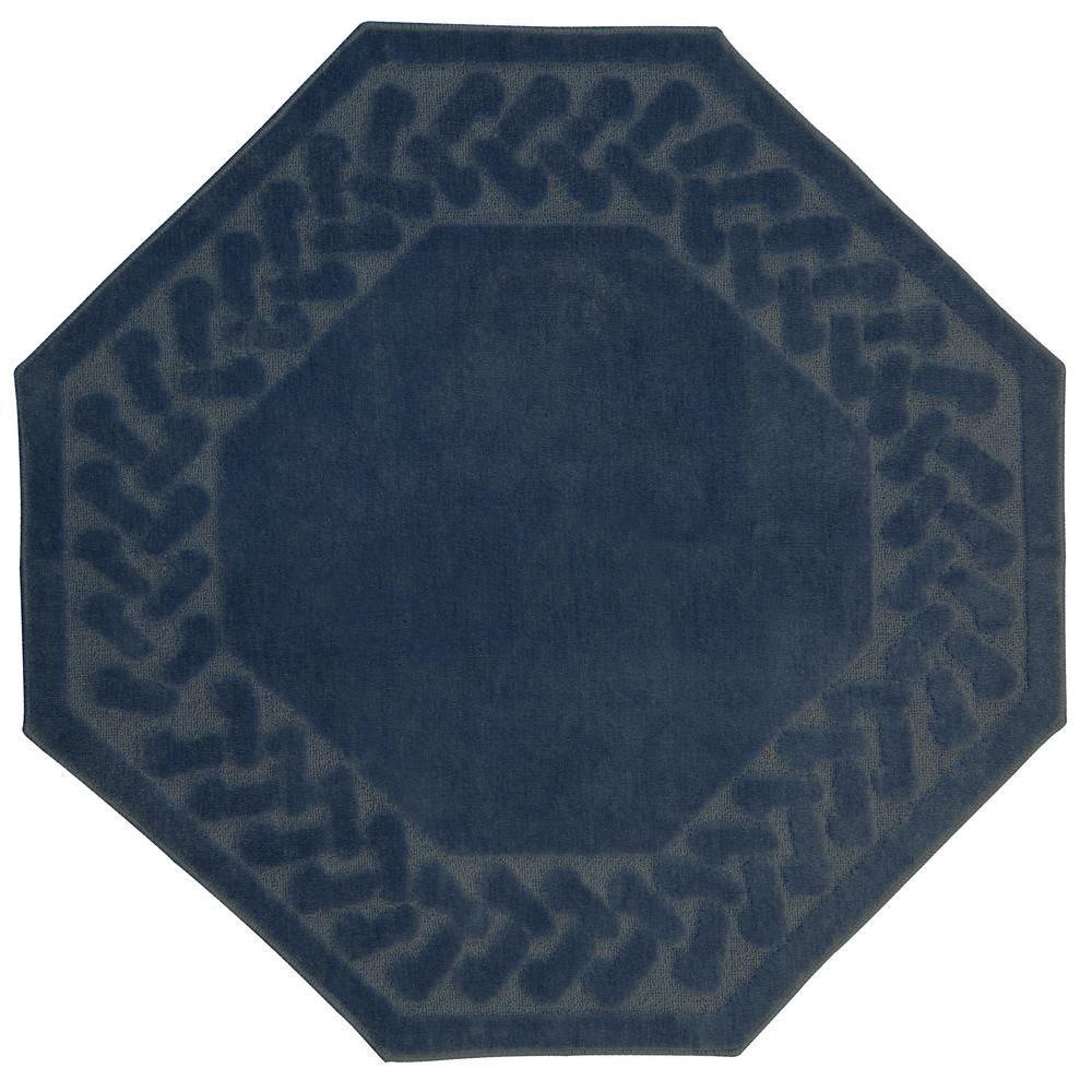null Herringbone Blue 6 ft. x 6 ft. Octagon Area Rug
